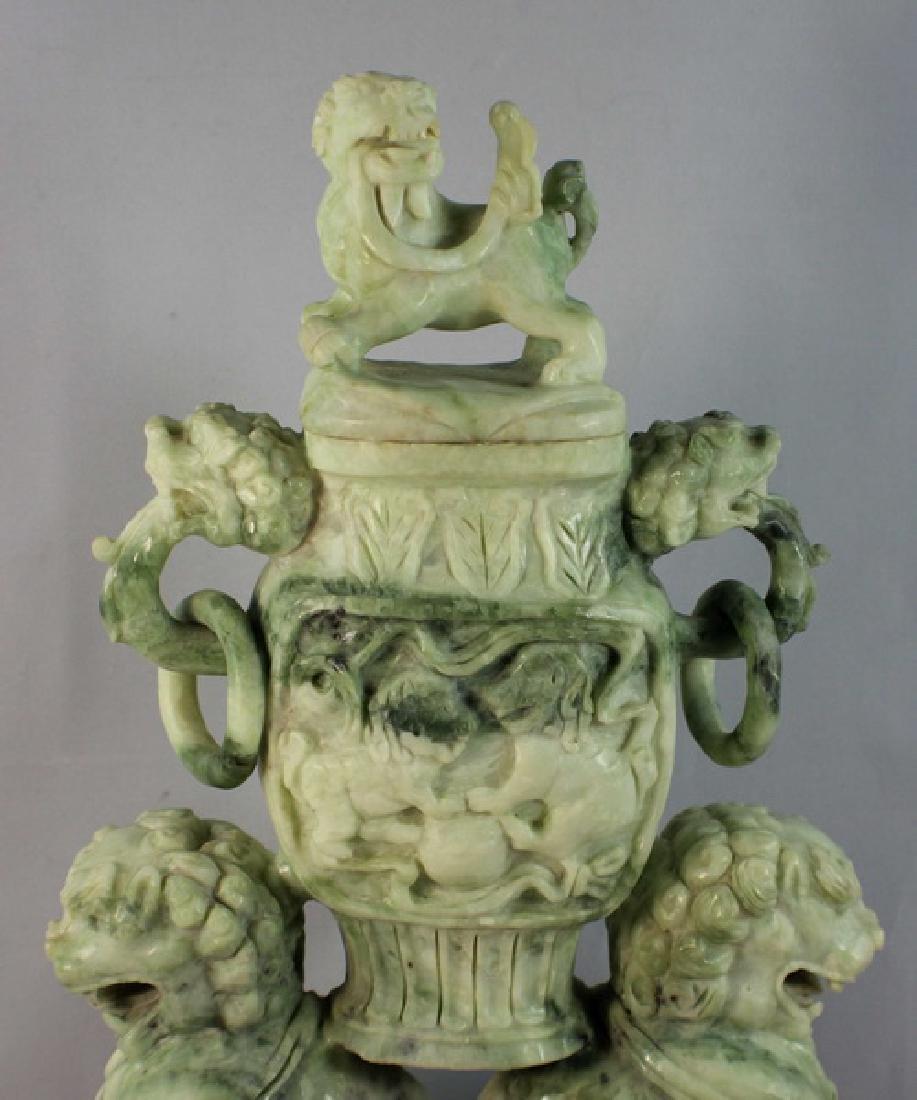 Chinese Carved Jade Incense Burner w,Wood Base - 7