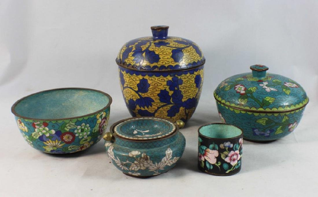 Group Of 5 Chinese Cloisonne Boxes