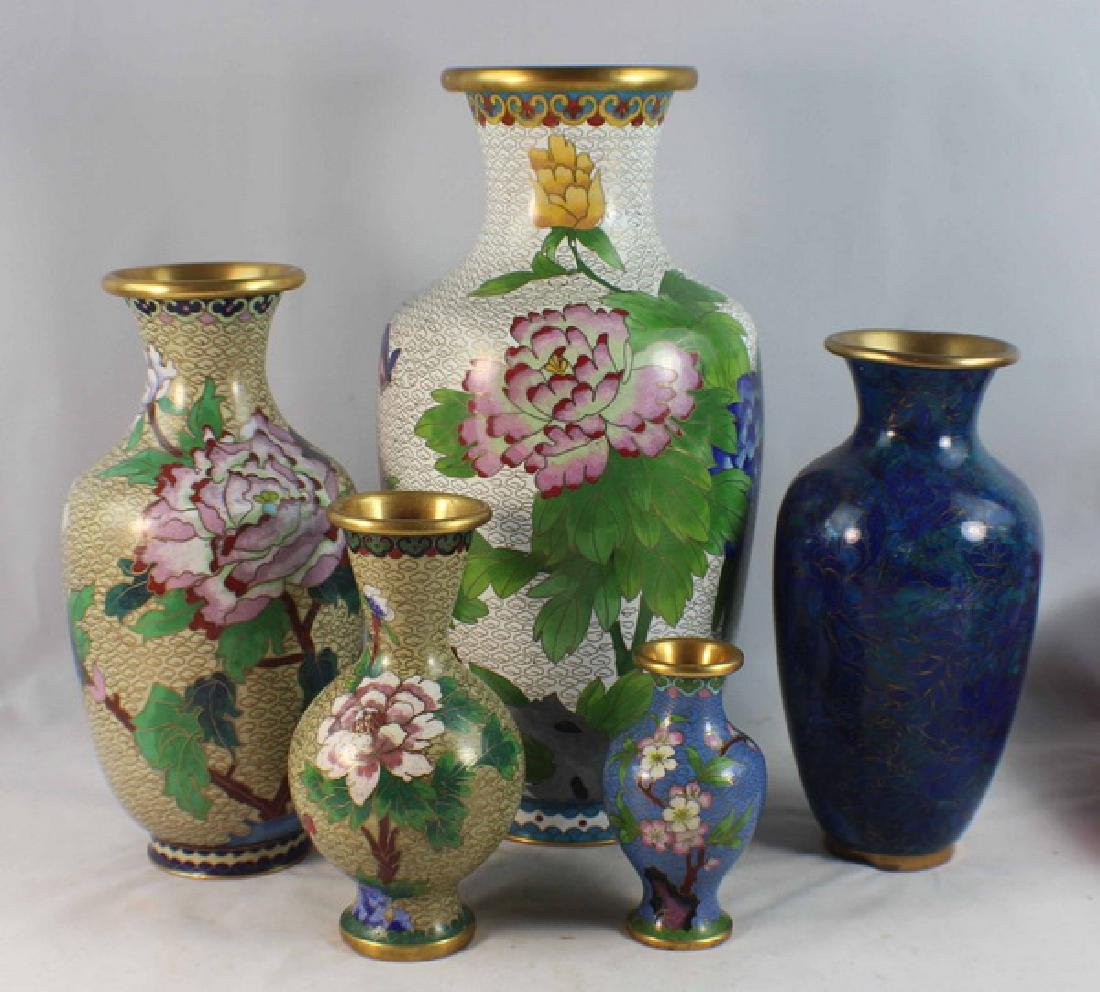 Group Of 5 Chinese Cloisonne Vases