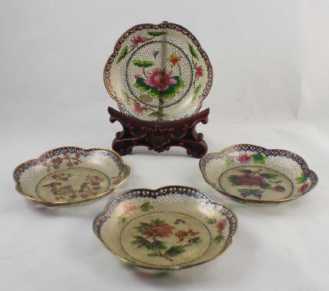 Lot Of 4 Chinese Cloisonne Plates w,Box