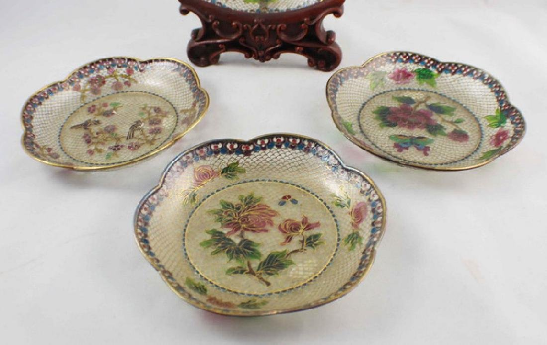 Lot Of 4 Chinese Cloisonne Plates w,Box - 3