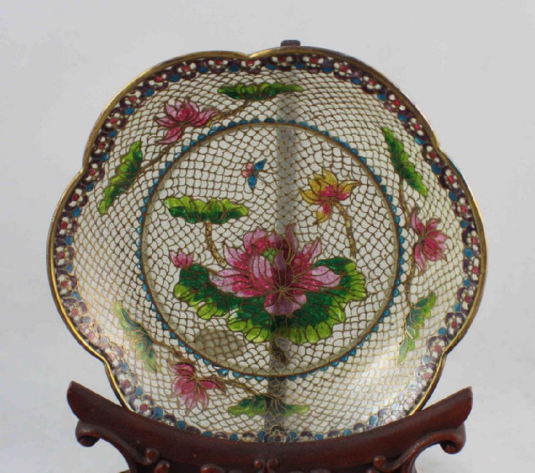 Lot Of 4 Chinese Cloisonne Plates w,Box - 4