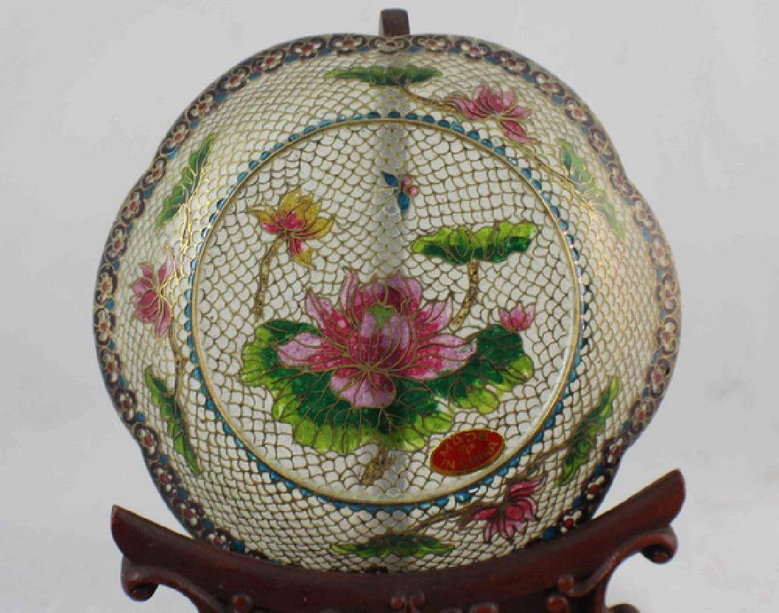 Lot Of 4 Chinese Cloisonne Plates w,Box - 5