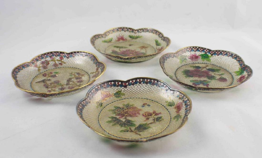 Lot Of 4 Chinese Cloisonne Plates w,Box - 6