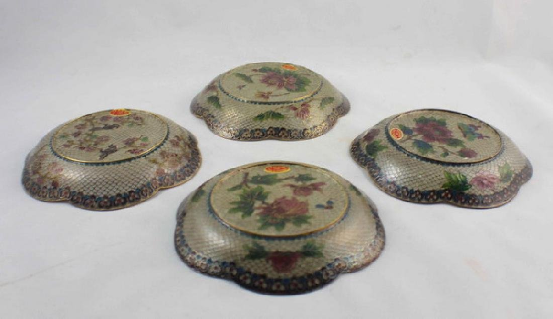 Lot Of 4 Chinese Cloisonne Plates w,Box - 7