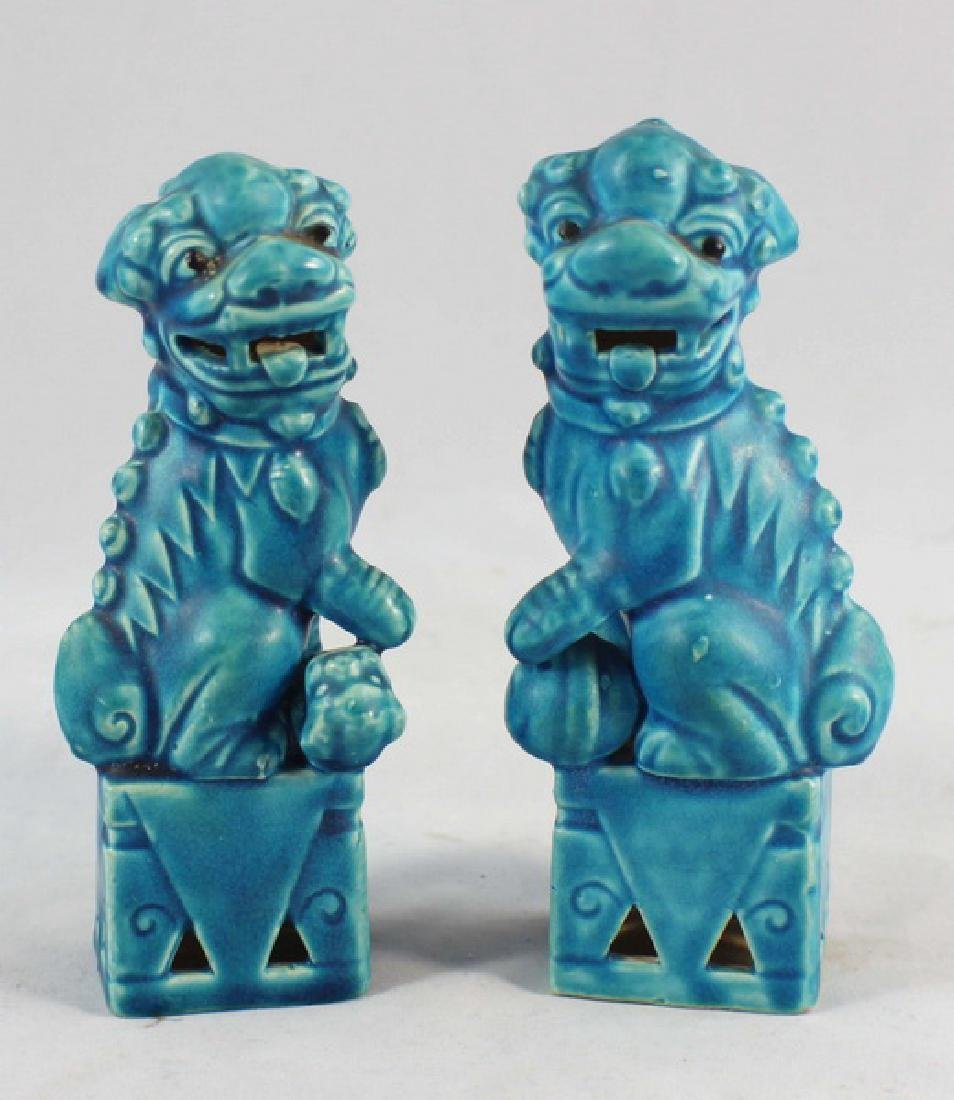 Pair Of Japanese Porcelain Statues Of Foo Dog