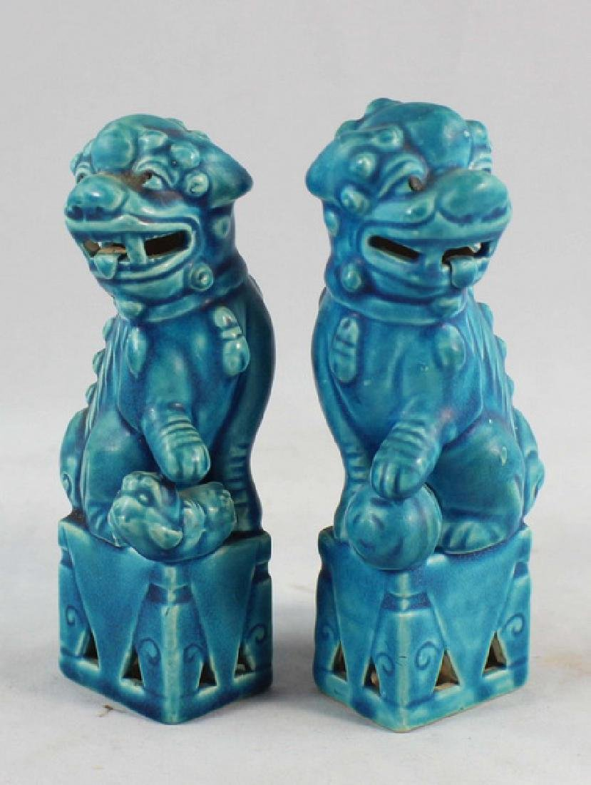 Pair Of Japanese Porcelain Statues Of Foo Dog - 2