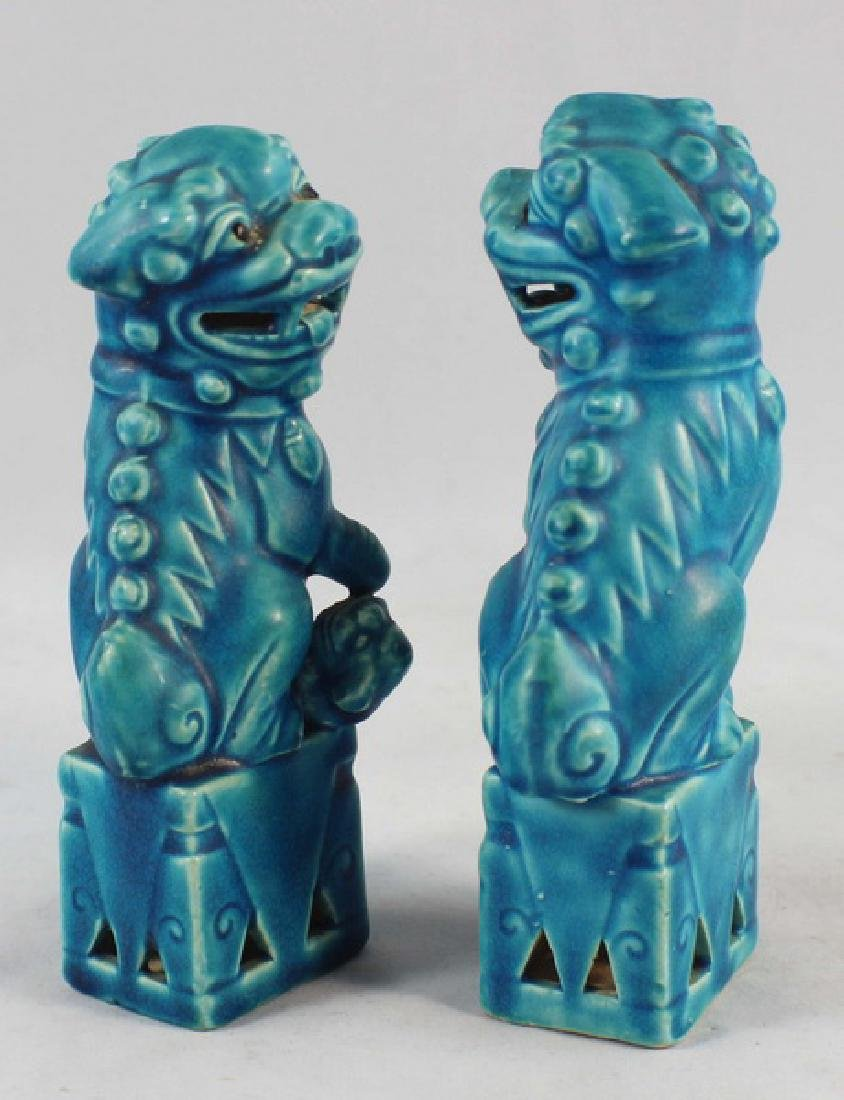 Pair Of Japanese Porcelain Statues Of Foo Dog - 5