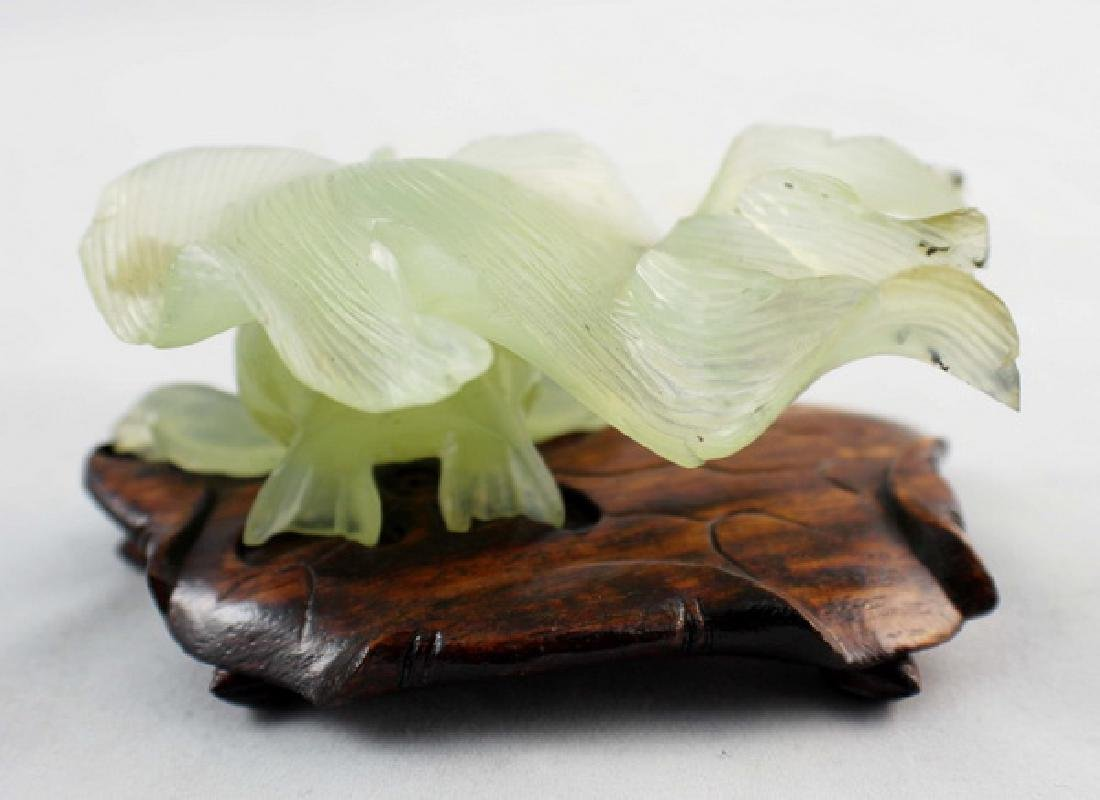 Chinese Carved Jade Statue w,Wood Stand - 4