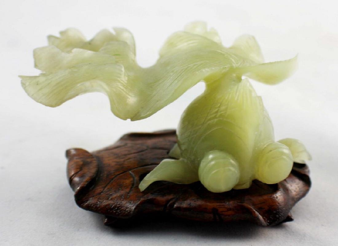 Chinese Carved Jade Statue w,Wood Stand