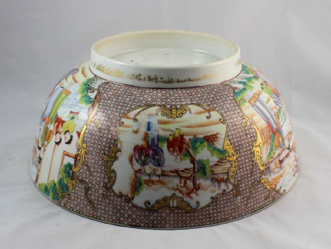 Antique Large Chinese Rose Medallion Porcelain Bowl - 9