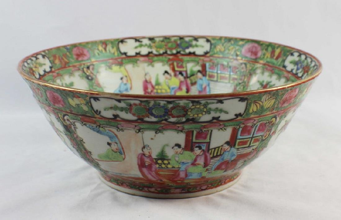 Antique Large Chinese Rose Medallion Porcelain Bowl
