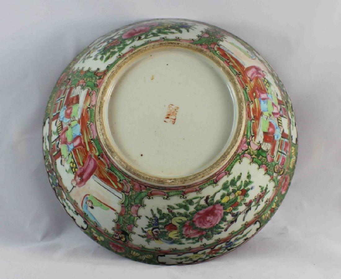 Antique Large Chinese Rose Medallion Porcelain Bowl - 6
