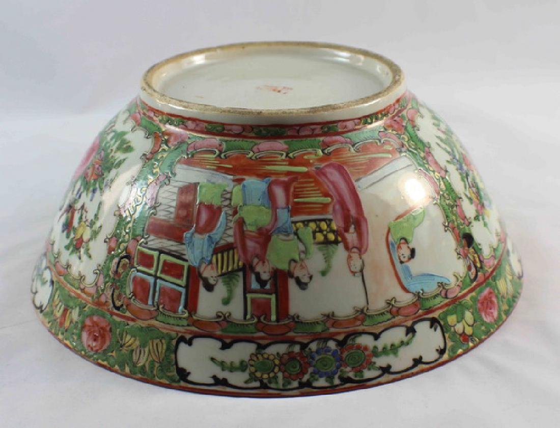 Antique Large Chinese Rose Medallion Porcelain Bowl - 7
