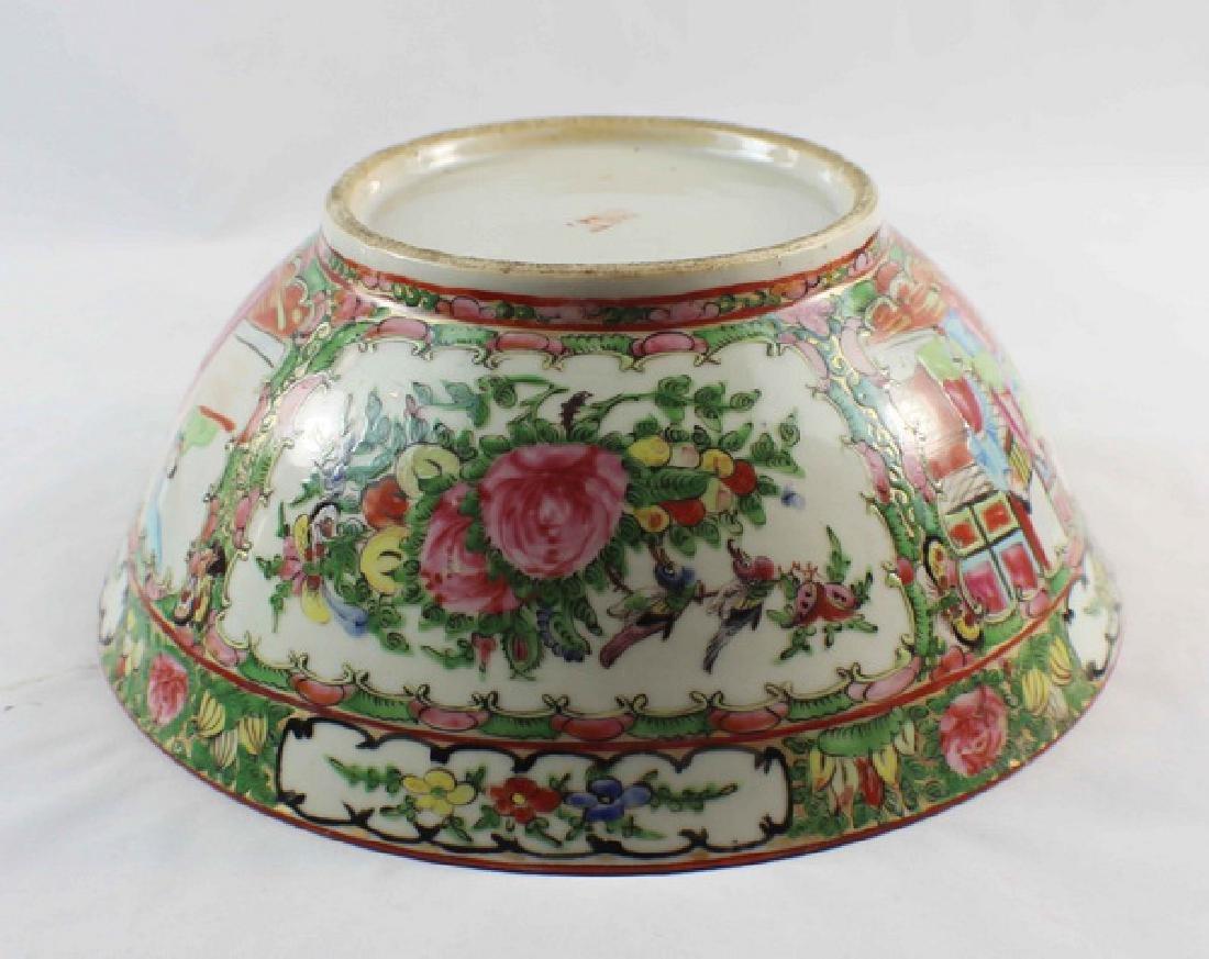 Antique Large Chinese Rose Medallion Porcelain Bowl - 8
