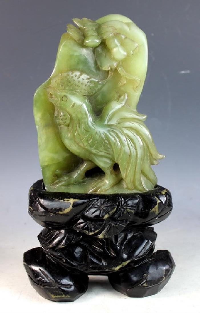 Chinese Carved Jade Statue of Birds w/Jade Stand