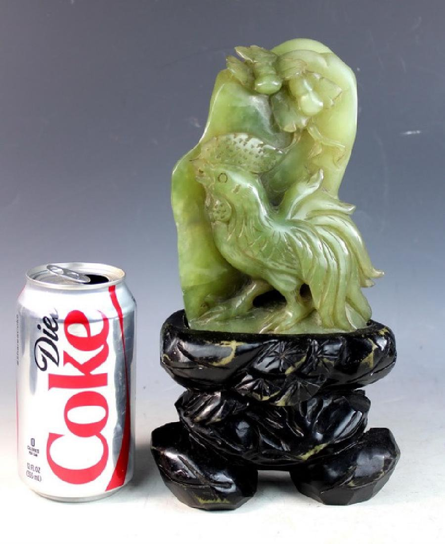 Chinese Carved Jade Statue of Birds w/Jade Stand - 2