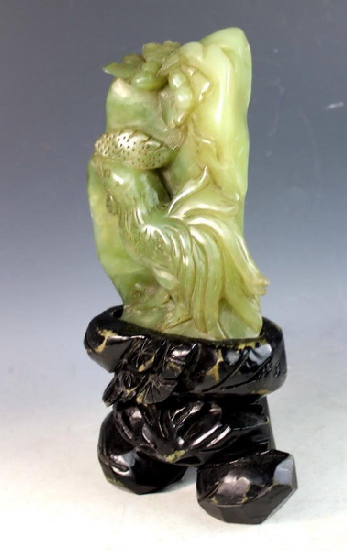 Chinese Carved Jade Statue of Birds w/Jade Stand - 3