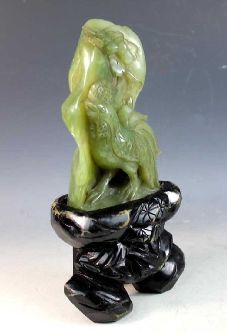 Chinese Carved Jade Statue of Birds w/Jade Stand - 6