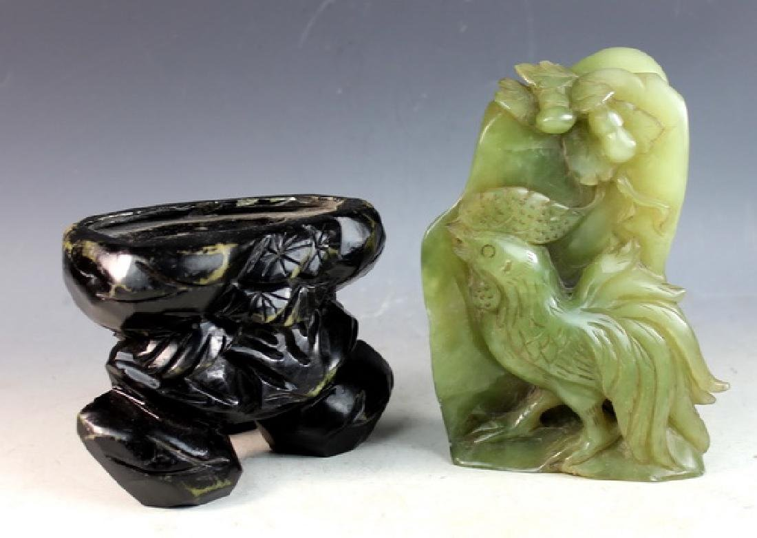 Chinese Carved Jade Statue of Birds w/Jade Stand - 7