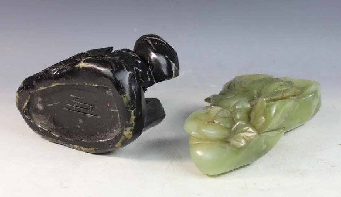 Chinese Carved Jade Statue of Birds w/Jade Stand - 8