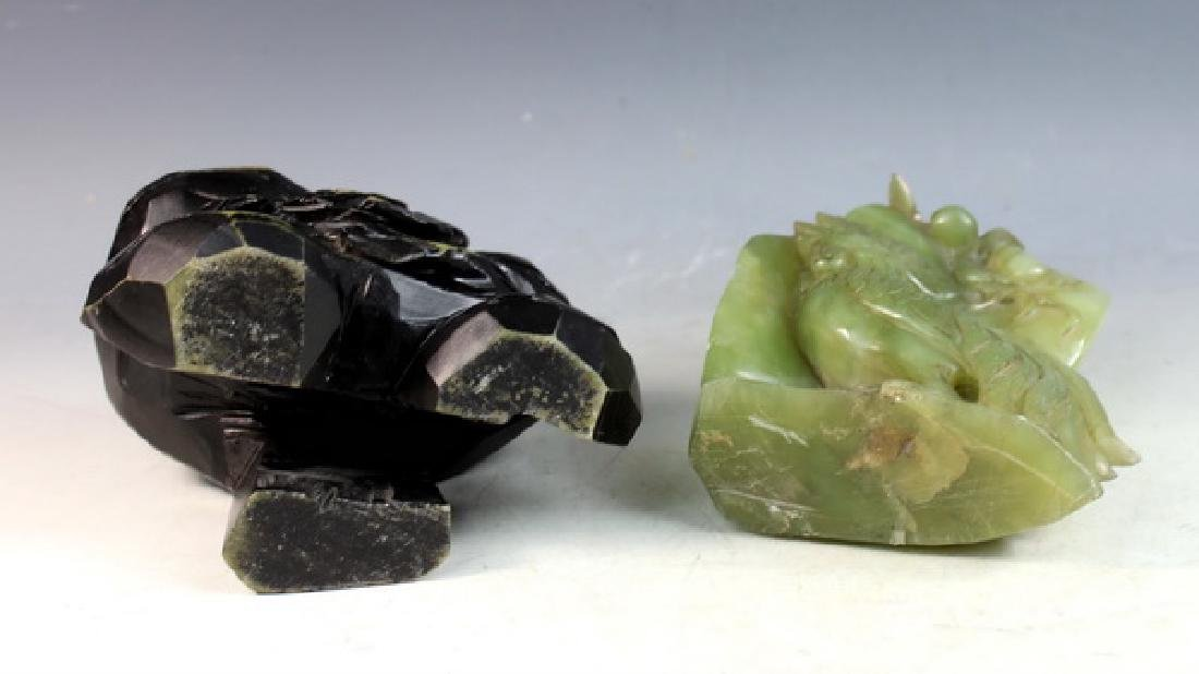 Chinese Carved Jade Statue of Birds w/Jade Stand - 9