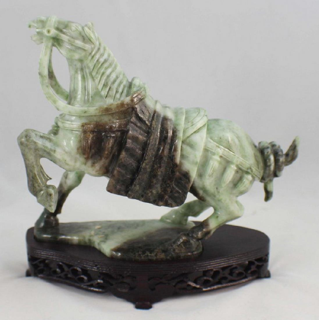 Chinese Carved Jade Horse w,Wood Stand