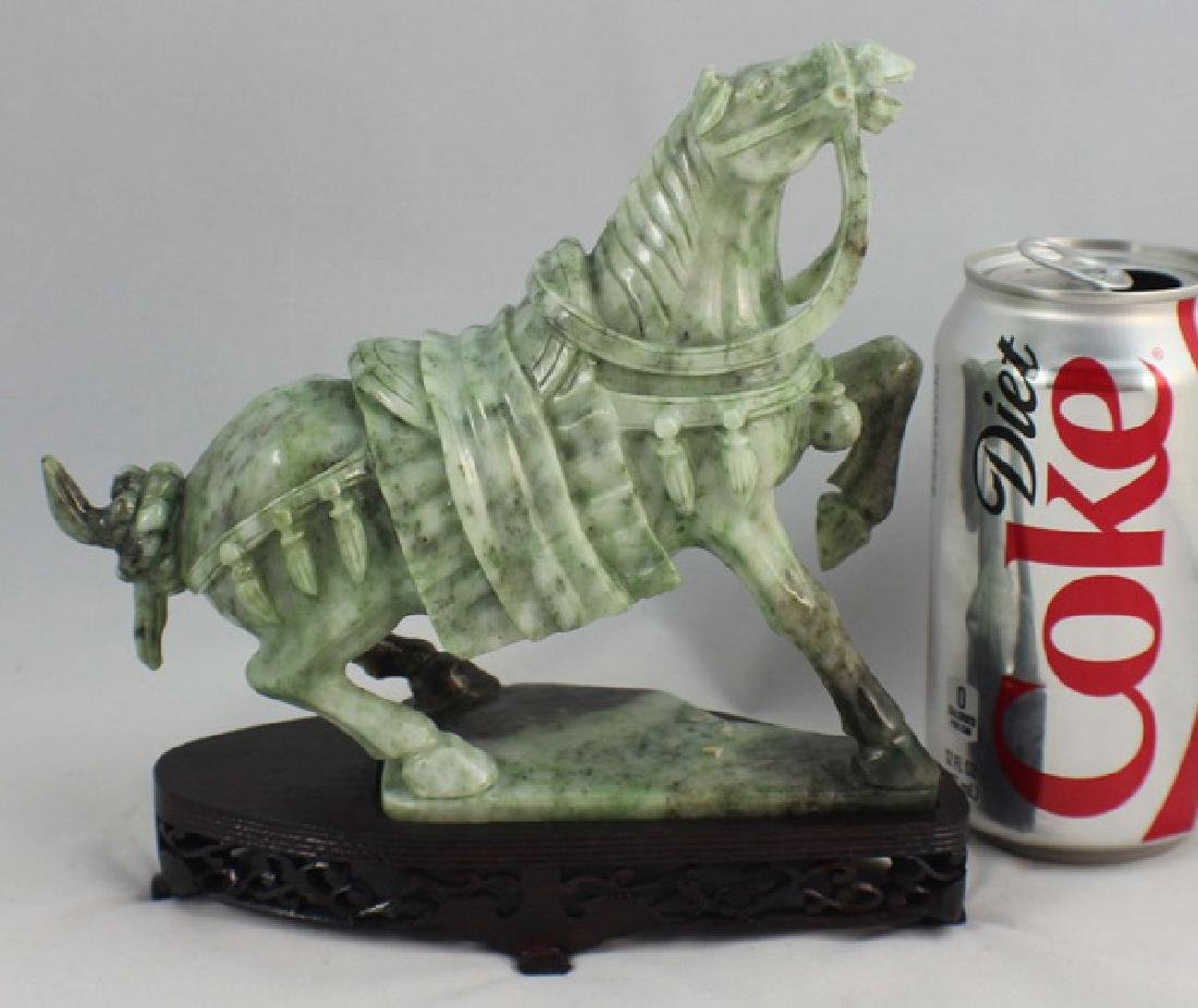 Chinese Carved Jade Horse w,Wood Stand - 2