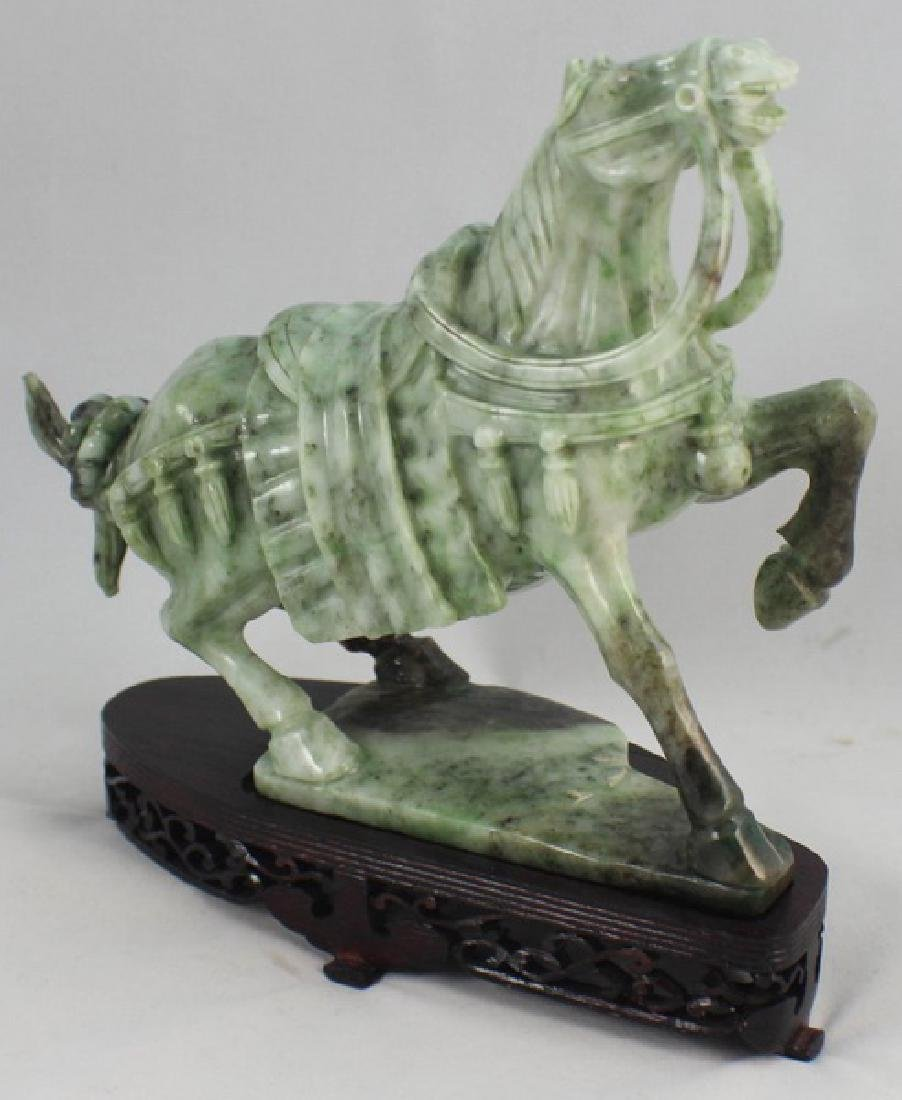 Chinese Carved Jade Horse w,Wood Stand - 5