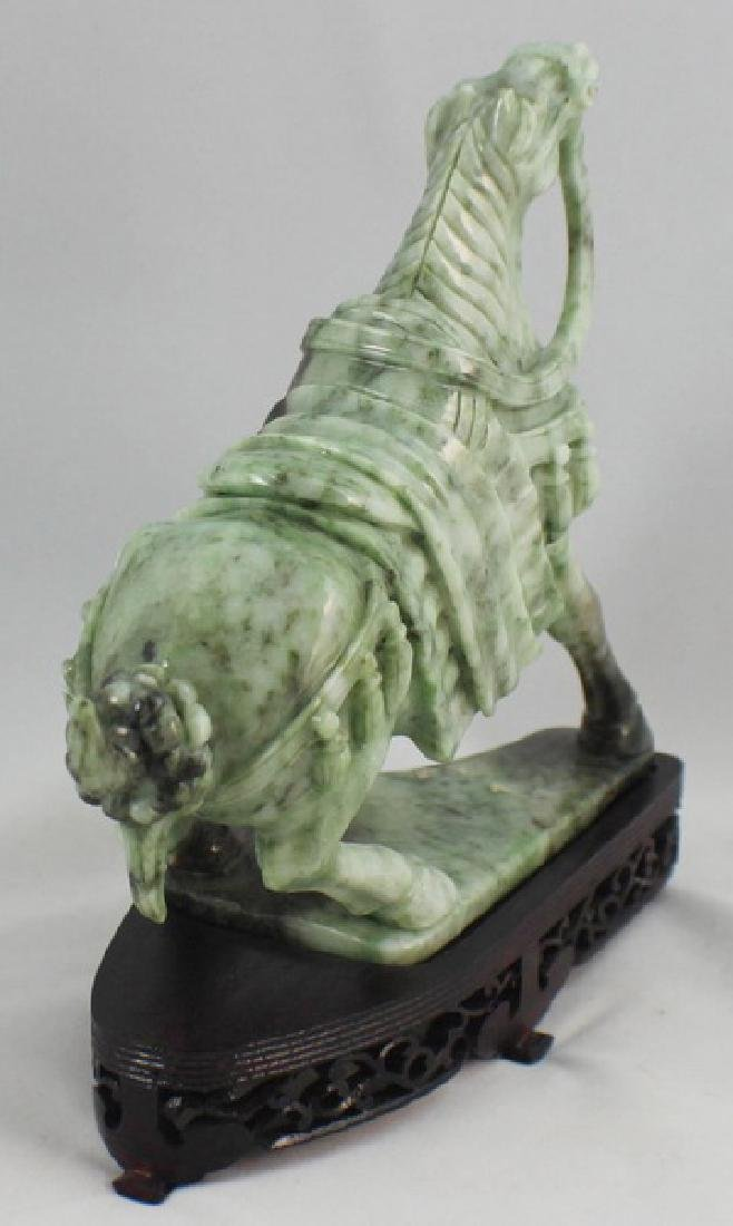 Chinese Carved Jade Horse w,Wood Stand - 6