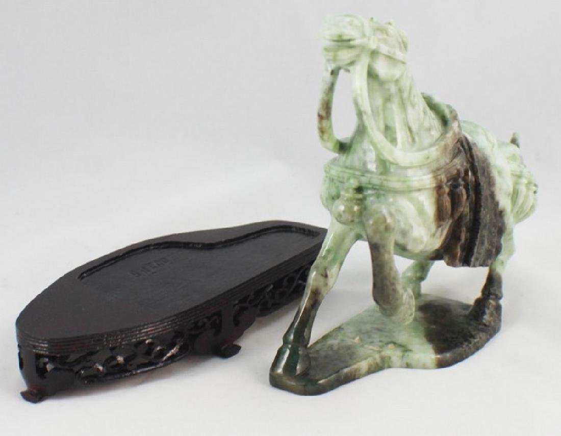 Chinese Carved Jade Horse w,Wood Stand - 7