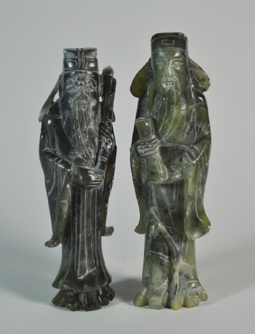 Pair of Chinese Carved Jade Statues w Base