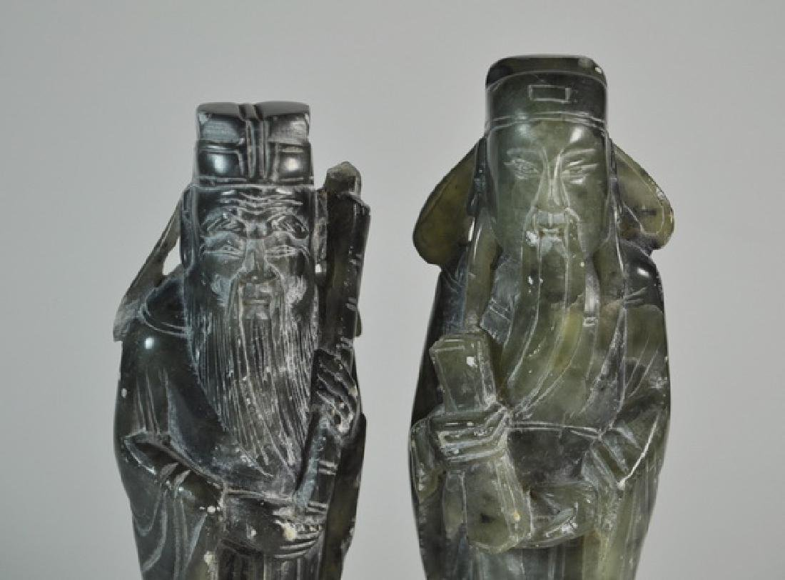 Pair of Chinese Carved Jade Statues w Base - 2