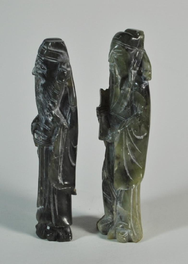 Pair of Chinese Carved Jade Statues w Base - 3