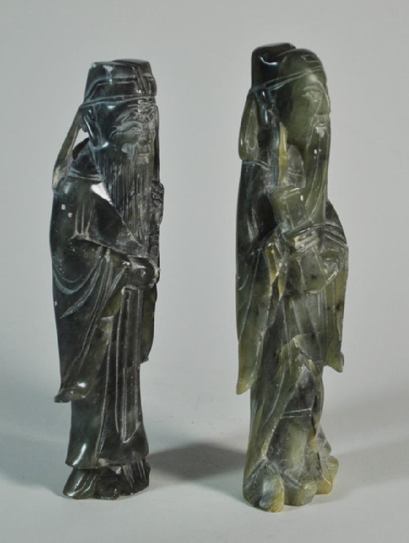 Pair of Chinese Carved Jade Statues w Base - 5