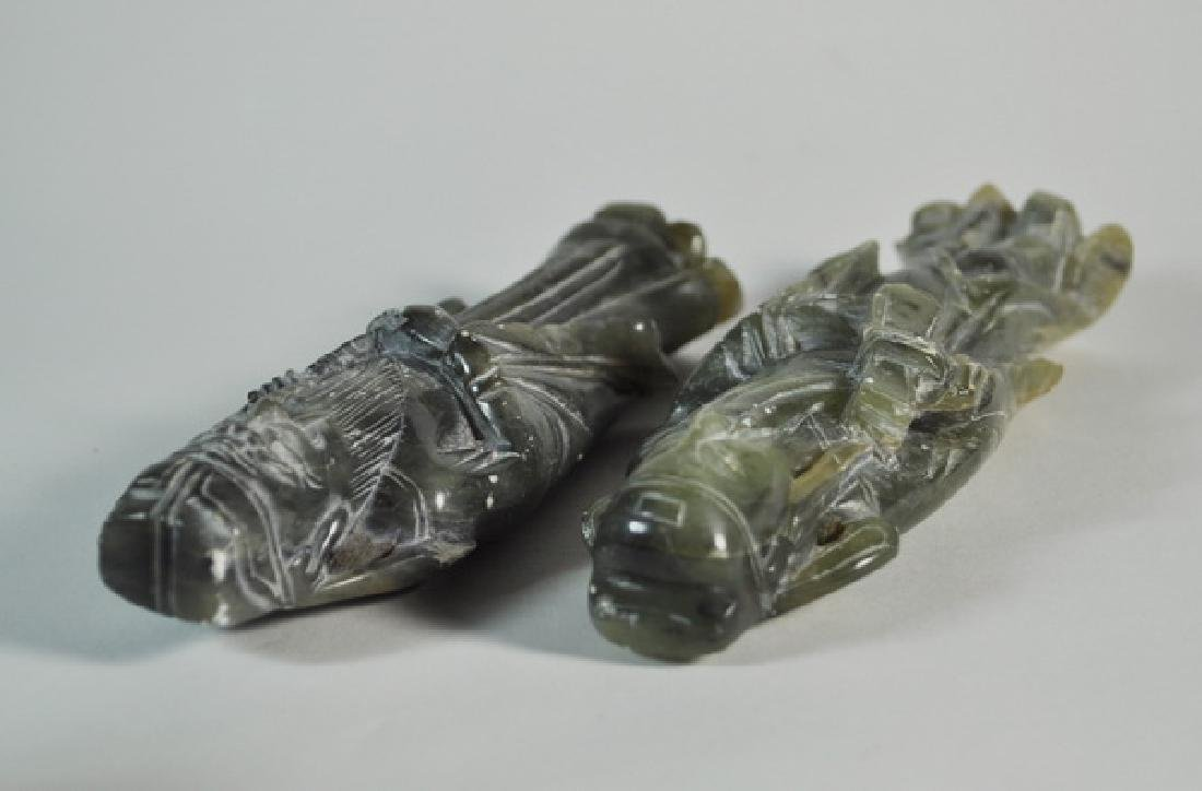 Pair of Chinese Carved Jade Statues w Base - 6