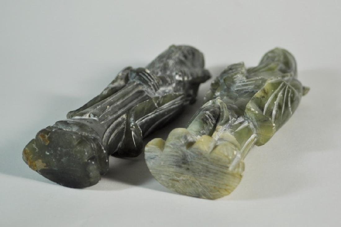 Pair of Chinese Carved Jade Statues w Base - 7