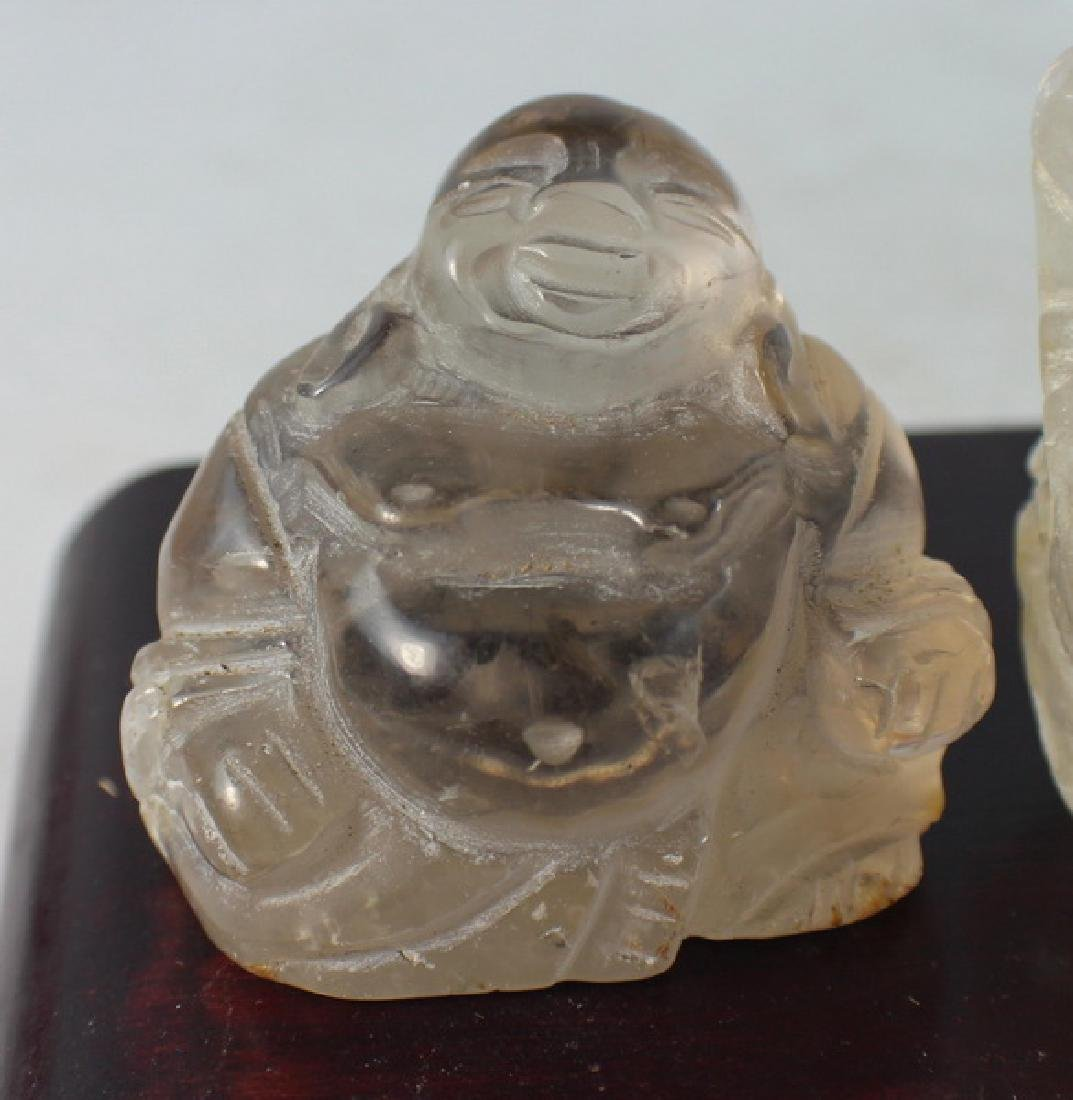 Group 4 Chinese Carved Natural Crystal Buddhas - 2