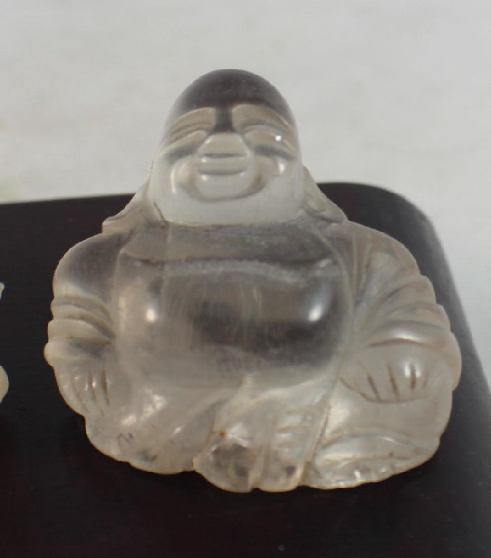 Group 4 Chinese Carved Natural Crystal Buddhas - 4
