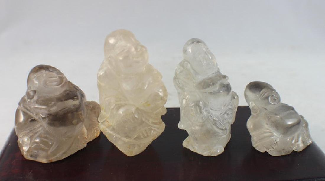 Group 4 Chinese Carved Natural Crystal Buddhas - 6