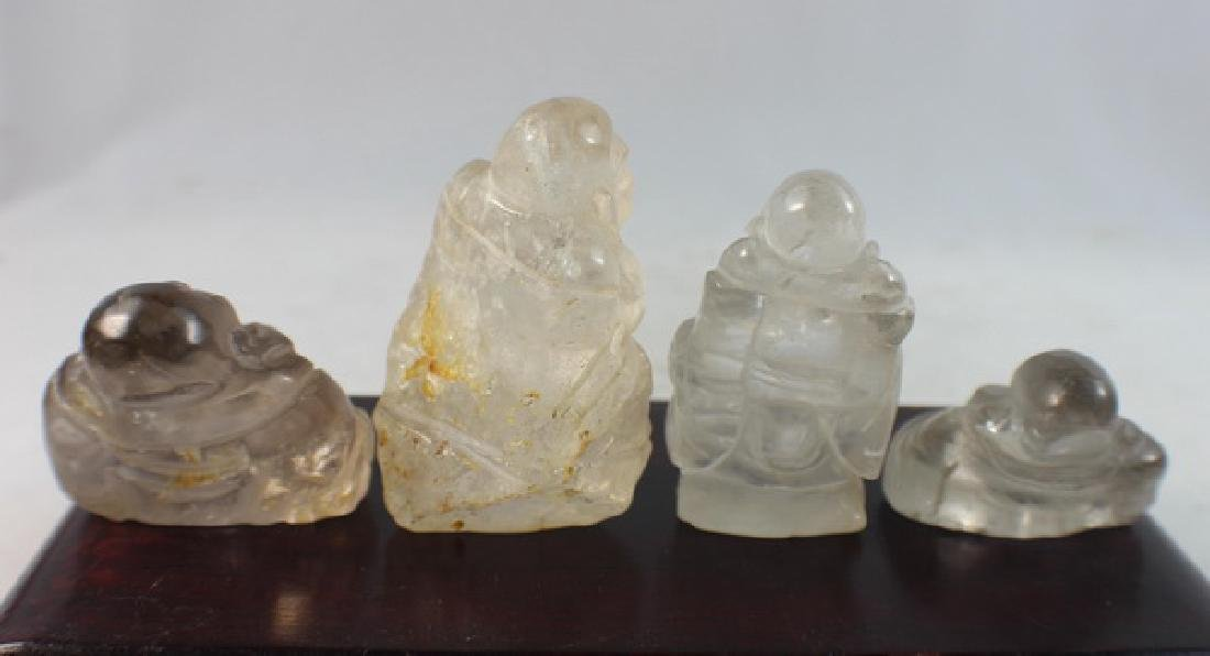 Group 4 Chinese Carved Natural Crystal Buddhas - 7