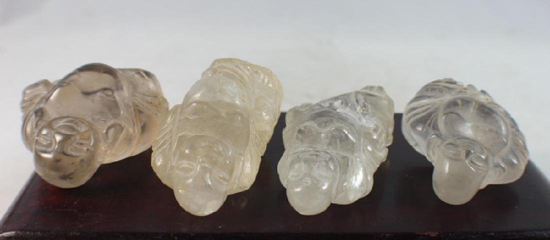 Group 4 Chinese Carved Natural Crystal Buddhas - 8