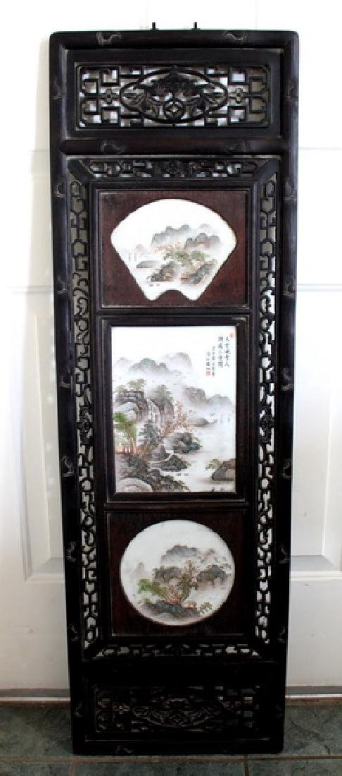 """48"""" Wooden Framed Hand Painted Porcelain Wall Panel"""