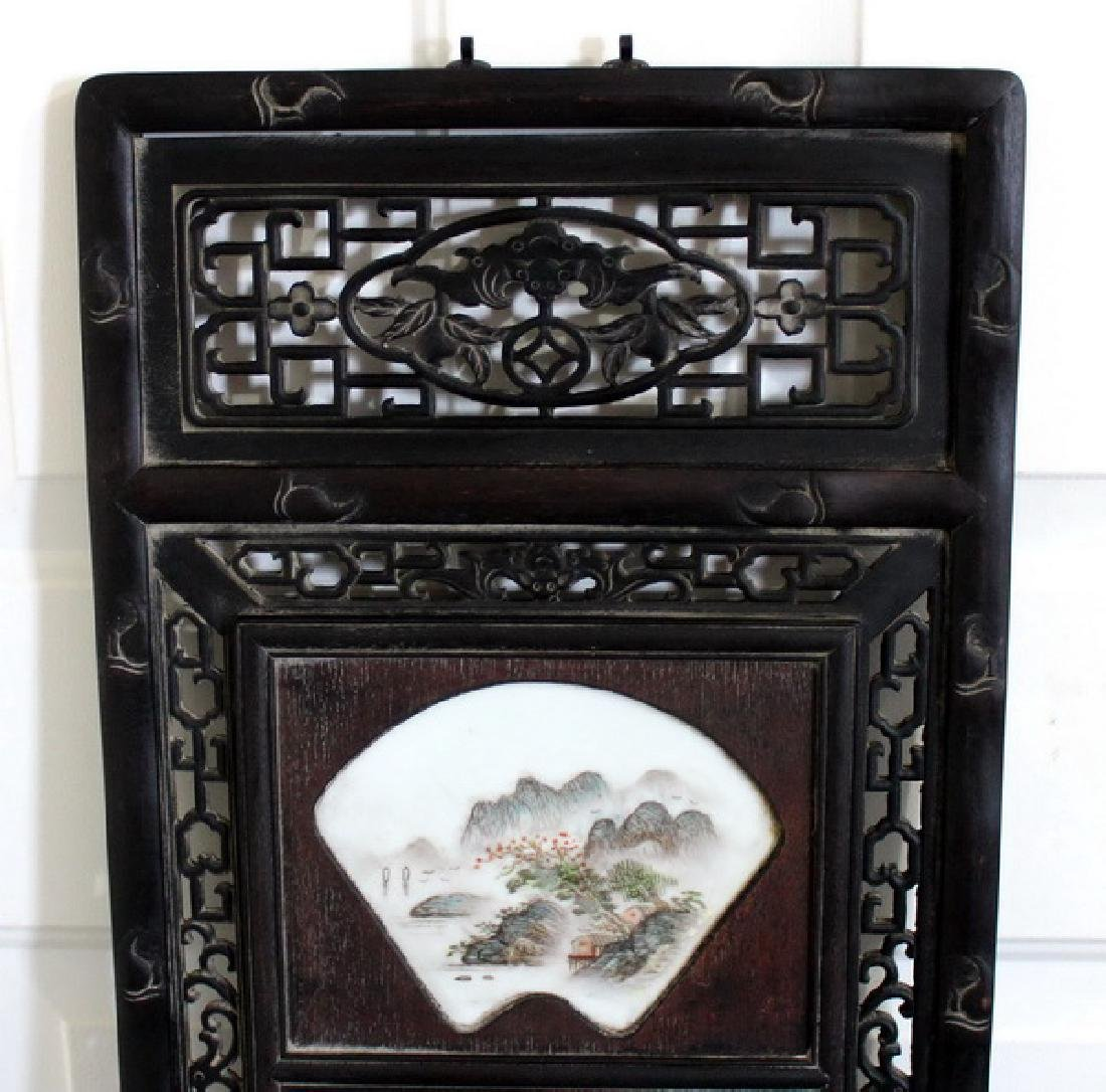 """48"""" Wooden Framed Hand Painted Porcelain Wall Panel - 2"""
