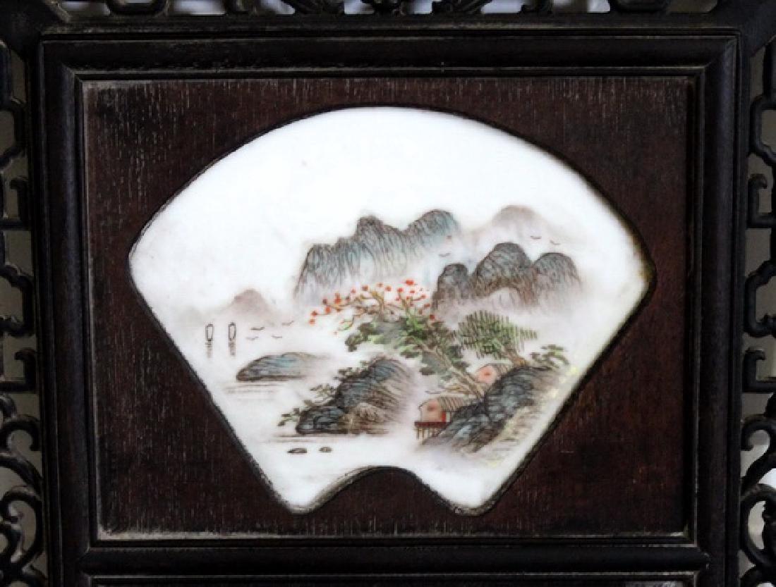 """48"""" Wooden Framed Hand Painted Porcelain Wall Panel - 3"""