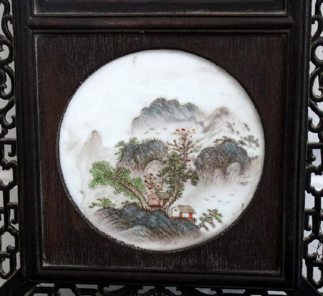 """48"""" Wooden Framed Hand Painted Porcelain Wall Panel - 5"""