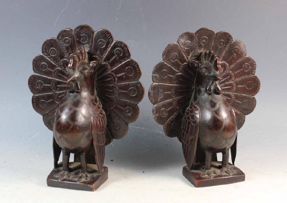 Pair of Japanese Bronze Peacock Bookend