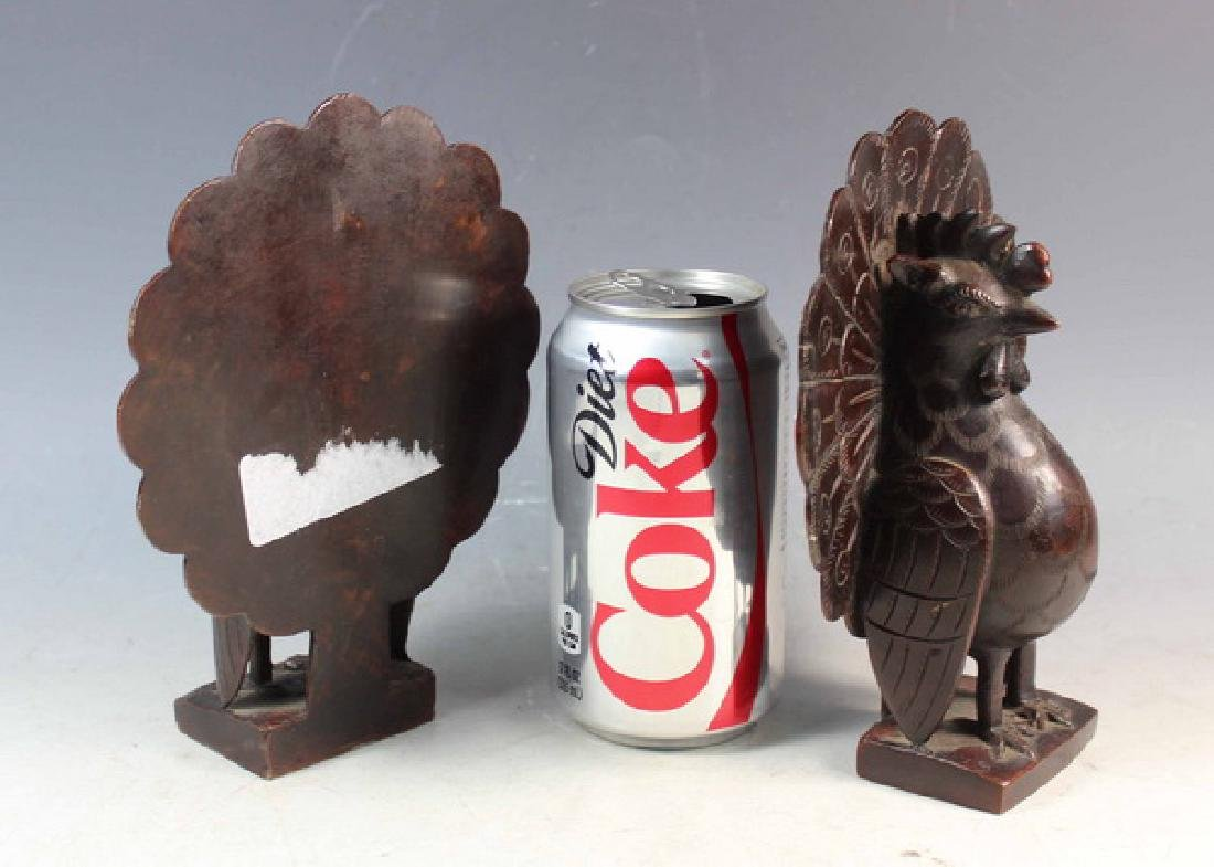 Pair of Japanese Bronze Peacock Bookend - 2