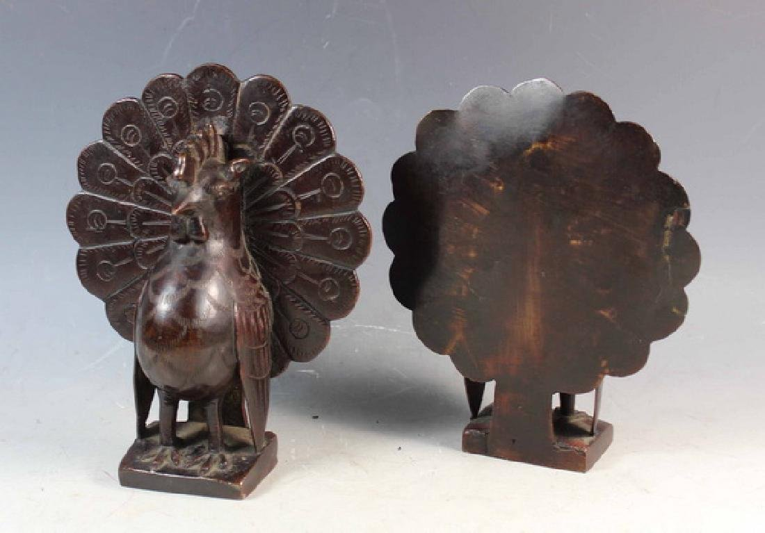 Pair of Japanese Bronze Peacock Bookend - 3