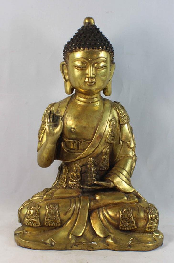 Chinese Bronze Gilt Buddha w,Marked